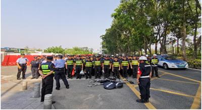 我司铁保宏泰参与深圳百企万员保安保国庆工作
