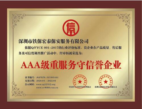2020年度AAA级重服务守信誉企业