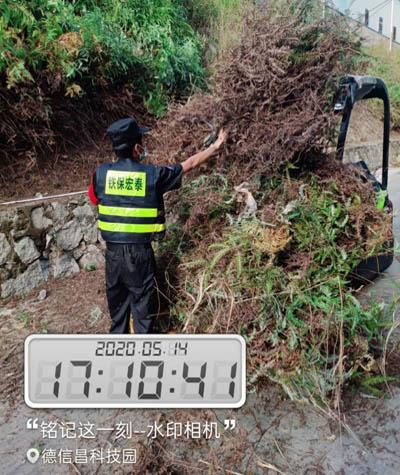 我司安保人员助德信昌科技园路容路貌除杂草